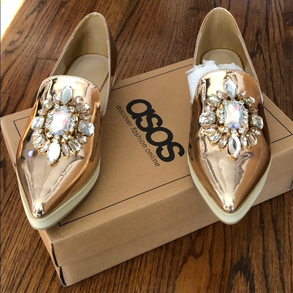 8be167be633e1c ASOS Shoes - ASOS METAPHOR Embellished Rose Gold Flats.